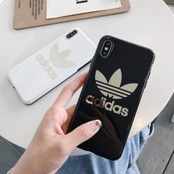 Adidas Style Electroplating Silicone Glossy Designer iPhone Case For iPhone 12 SE 11 Pro Max X XS XS Max XR 7 8 Plus - Casememe
