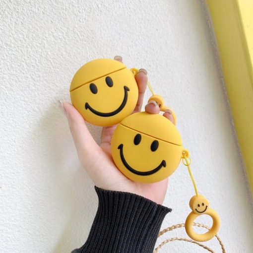 Happy Face Smile Yellow Silicone Protective Shockproof Case For Apple Airpods 1 & 2 - Casememe