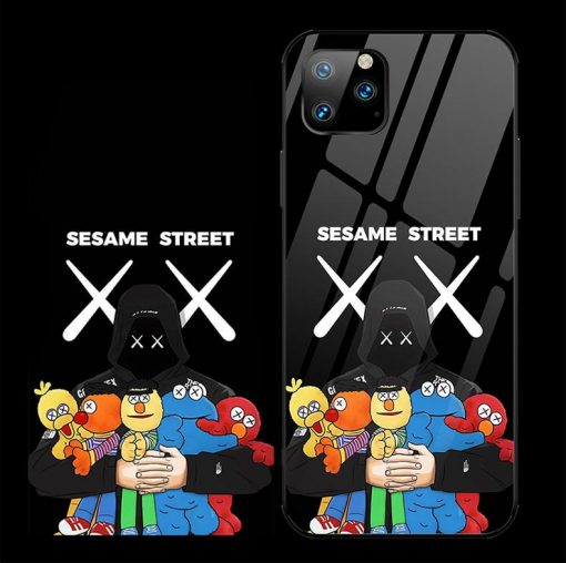 KAWS Style Tempered Glass BFF Designer iPhone Case For iPhone 11 Pro Max X XS XS Max XR 7 8 Plus - Casememe