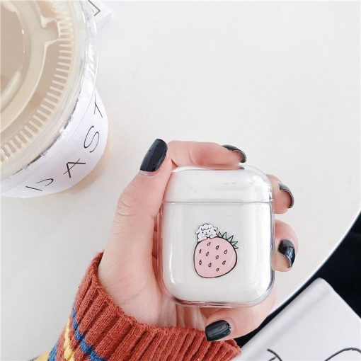 Smile Banana Strawberry Cute Hard Clear Protective Shockproof Case For Apple Airpods 1 & 2 - Casememe
