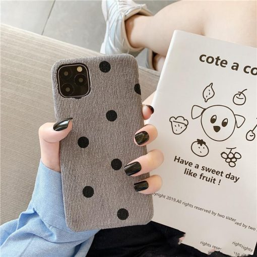 Retro Polka Dot Fabric Silicone Shockproof Protective Designer iPhone Case For iPhone SE 11 Pro Max X XS Max XR 7 8 Plus - Casememe