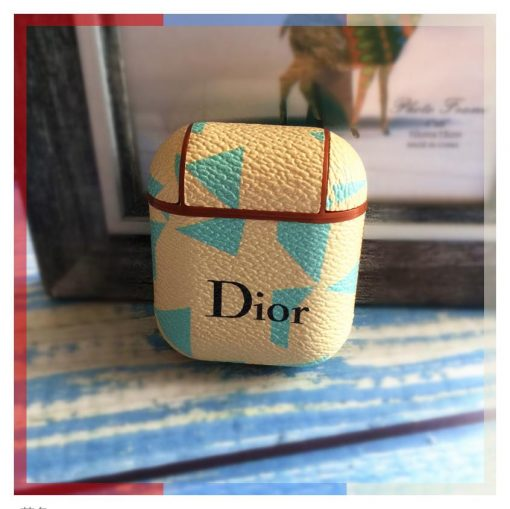 Dior Style Geometric Leather Protective Shockproof Case For Apple Airpods 1 & 2 - Casememe