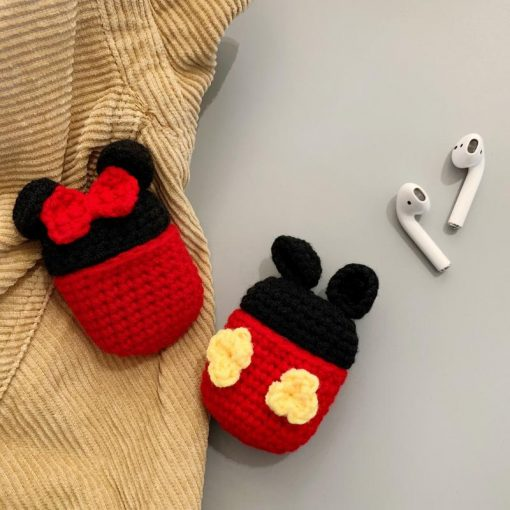 Minnie Mickey Mouse Style Knit Protective Case For Apple Airpods 1 & 2 - Casememe