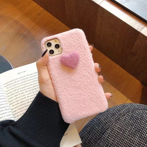 Heart Cute Furry Shockproof Protective Designer iPhone Case For iPhone SE 11 Pro Max X XS Max XR 7 8 Plus - Casememe