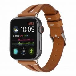 MORE COLORS Genuine Leather Slim Breathable Compatible With Apple Watch iWatch 38mm 40mm 42mm 44mm Band Strap For iWatch Series 4/3/2/1 - Casememe