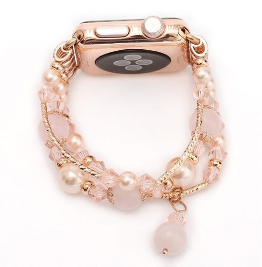 Rose Gold Jewelry Stretchable Shiny Compatible With Apple Watch 38mm 40mm 42mm 44mm Band Strap For iWatch Series 4/3/2/1 - Casememe