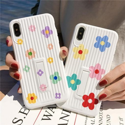 Floral Kickstand Silicone Shockproof Protective Designer iPhone Case For iPhone SE 11 Pro Max X XS Max XR 7 8 Plus - Casememe