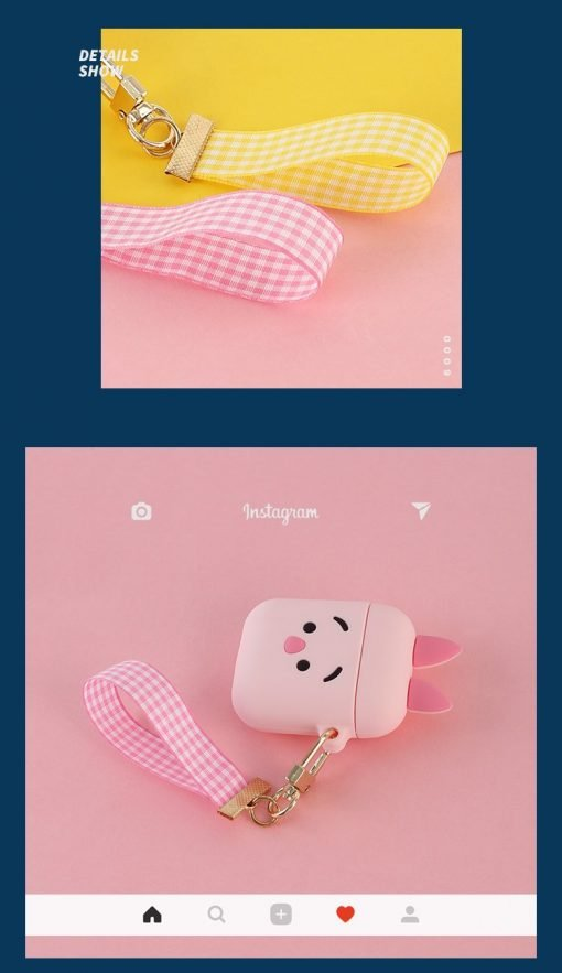 Winnie Pooh Piglet Silicone Protective Shockproof Case For Apple Airpods 1 & 2 With Strap - Casememe