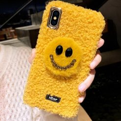 Smile Face Style Furry Shockproof Protective Designer iPhone Case For iPhone SE 11 Pro Max X XS Max XR 7 8 Plus - Casememe
