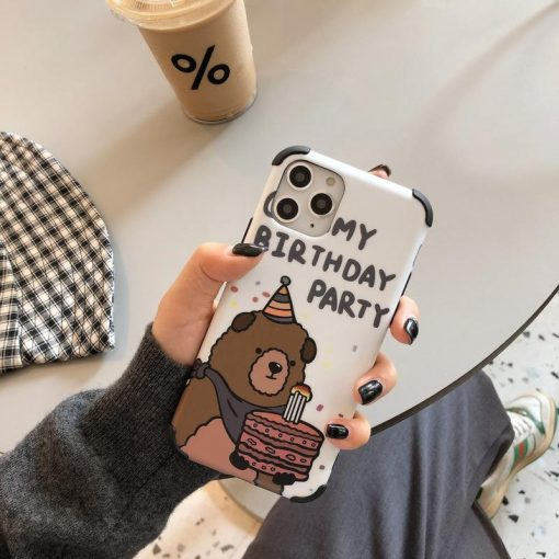 Birthday Bear Glossy Shockproof Protective Designer iPhone Case For iPhone SE 11 Pro Max X XS Max XR 7 8 Plus - Casememe