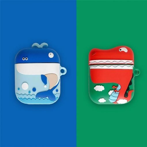 Cute Whale Dinosaur Silicone Protective Shockproof Case For Apple Airpods 1 & 2 - Casememe