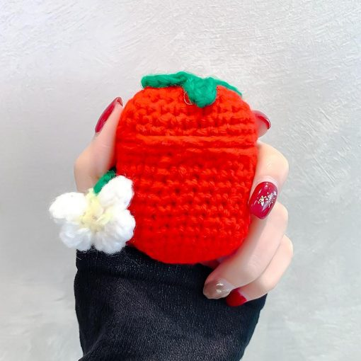 Cute Strawberry Knit Protective Case For Apple Airpods 1 & 2 - Casememe