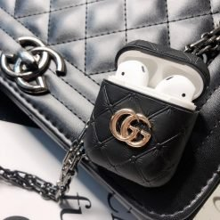 Gucci Style GG Marmont Leather Luxury Protective Shockproof Case For Apple Airpods 1 & 2 - Casememe