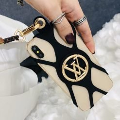 Louis Vuitton Style Louise Phone Holder Strap Monogram Shockproof Protective Designer iPhone Case For iPhone 12 SE 11 Pro Max X XS Max XR 7 8 Plus - Casememe