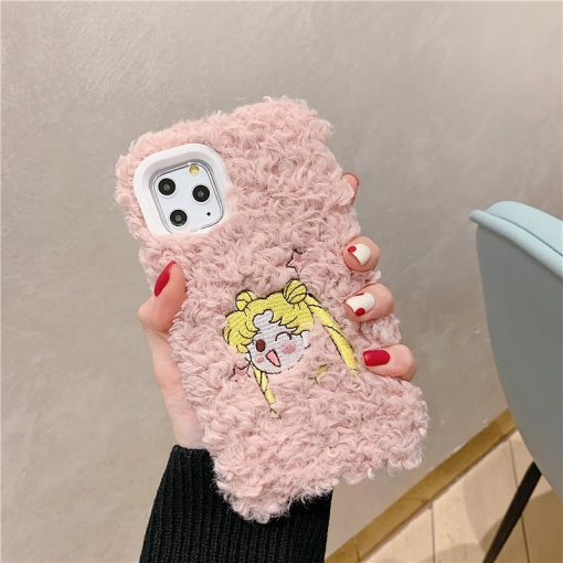 Sailor Moon Style Embroidery Furry Shockproof Protective Designer iPhone Case For iPhone SE 11 Pro Max X XS Max XR 7 8 Plus - Casememe