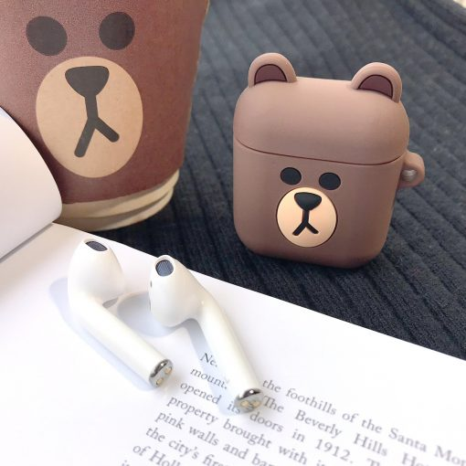 Cute Piggy Bear LINE Silicone Protective Shockproof Case For Apple Airpods 1 & 2 - Casememe