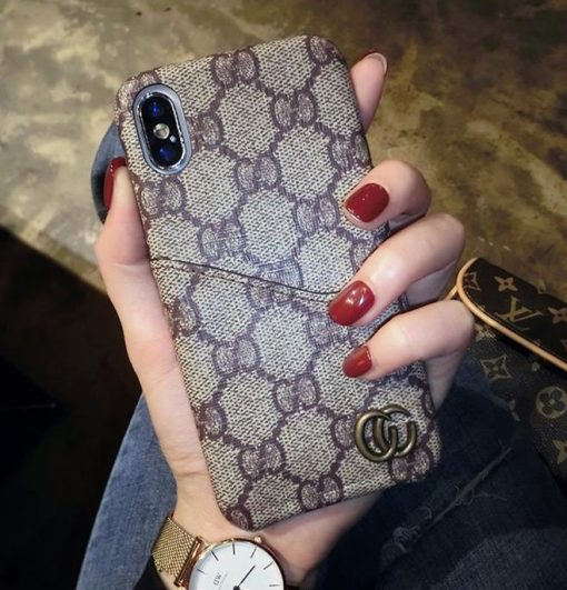 Gucci Style Marmont Leather Cardholder Designer iPhone Case For iPhone X XS XS Max XR 7 8 Plus - Casememe