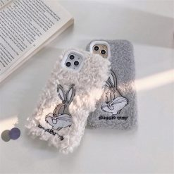 Bugs Bunny Style Embroidery Furry Shockproof Protective Designer iPhone Case For iPhone 11 Pro Max X XS Max XR 7 8 Plus - Casememe