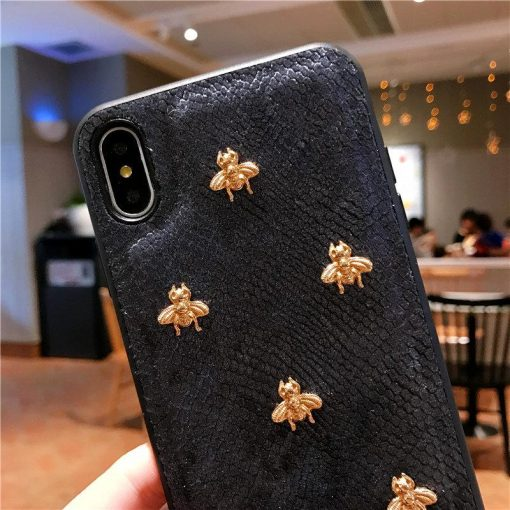 Gucci Style Classic Bee Leather Designer iPhone Case For iPhone 11 Pro Max X XS XS Max XR 7 8 Plus - Casememe