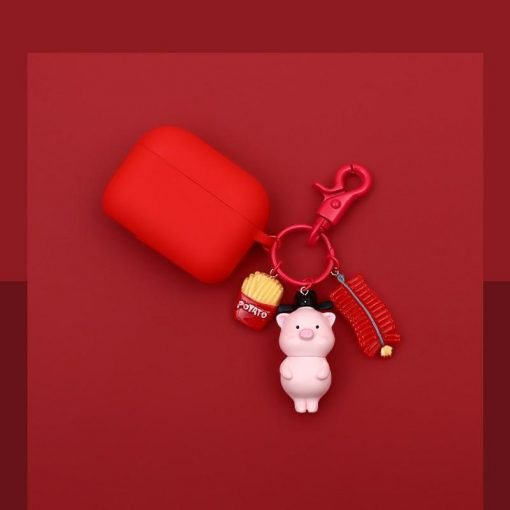 Pink Piggy Keychain Silicone Protective Case For Apple Airpods Pro - Casememe