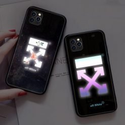 Off White Style Illuminating Shockproof Protective Designer iPhone Case For iPhone SE11 Pro Max X XS Max XR 7 8 Plus - Casememe