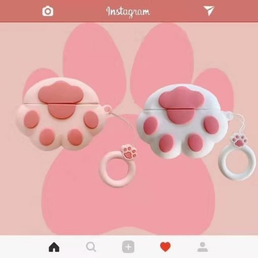 Pink Paw Silicone Designer Protective Case For Apple Airpods Pro - Casememe