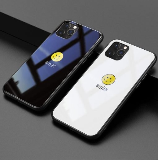 Smile Happy Face Tempered Glass Designer iPhone Case For iPhone 11 Pro Max X XS XS Max XR 7 8 Plus - Casememe