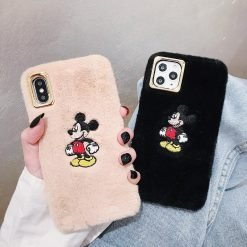 Disney Style Embroidery Mickey Mouse Furry Shockproof Protective Designer iPhone Case For iPhone SE 11 Pro Max X XS Max XR 7 8 Plus - Casememe