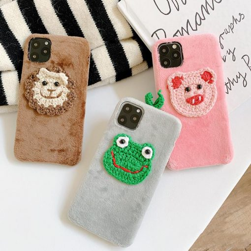 Embroidery Frog Piggy Suede Silicone Shockproof Protective Designer iPhone Case For iPhone 11 Pro Max X XS Max XR 7 8 Plus - Casememe