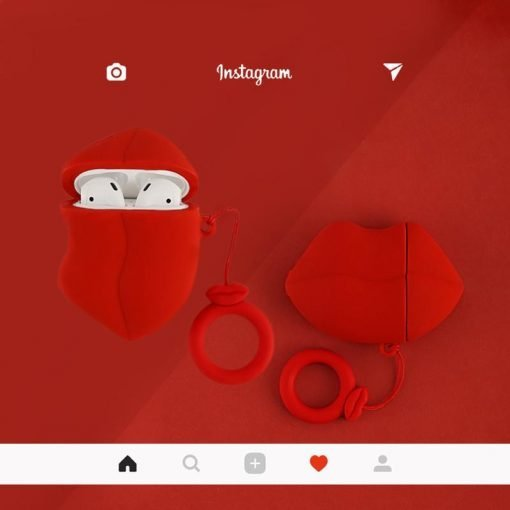 Sexy Lips Red Silicone Protective Shockproof Case For Apple Airpods 1 & 2 - Casememe