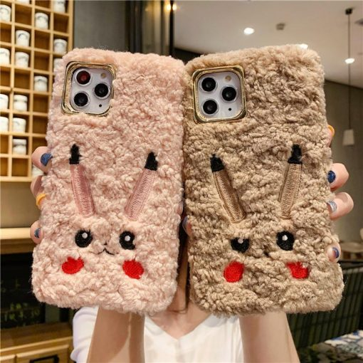 Pikachu Style Cute Furry Shockproof Protective Designer iPhone Case For iPhone 11 Pro Max X XS Max XR 7 8 Plus - Casememe