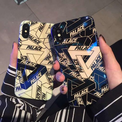 Palace Style Blue Light Glossy Silicone Designer iPhone Case For iPhone X XS XS Max XR 7 8 Plus - Casememe
