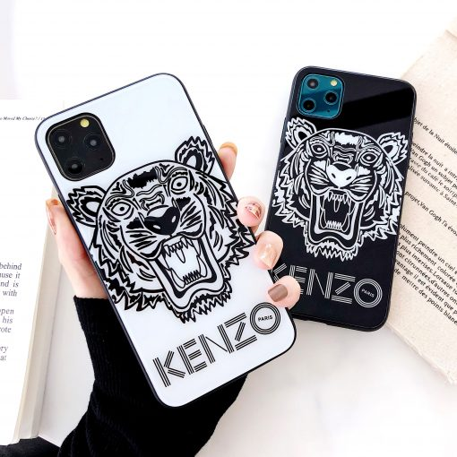 Kenzo Style Tempered Glass Shockproof Protective Designer iPhone Case For iPhone 12 SE 11 Pro Max X XS Max XR 7 8 Plus - Casememe