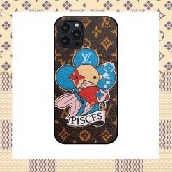 Louis Vuitton Style Pisces Leather Designer iPhone Case For All iPhone Models - Casememe