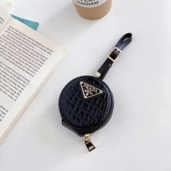 Prada Style Round Leather Pouch Protective Case For Apple Airpods 1 & 2 & Pro - Casememe