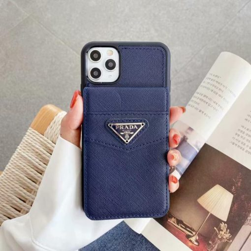 Prada Style Cardholder Leather Shockproof Protective Designer iPhone Case For iPhone 12 SE 11 Pro Max X XS Max XR 7 8 Plus - Casememe