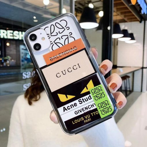 Gucci Style Tempered Glass Shockproof Protective Designer iPhone Case For iPhone SE 11 Pro Max X XS Max XR 7 8 Plus - Casememe