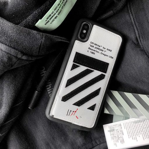 Air Jordan x OFF WHITE Style Luxury Leather Shockproof Protective Designer iPhone Case For iPhone SE 11 Pro Max X XS Max XR 7 8 Plus - Casememe