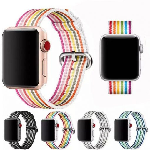 Rainbow Stripe Nylon Durable Compatible With Apple Watch 38mm 40mm 42mm 44mm Band Strap For iWatch Series 4/3/2/1 - Casememe