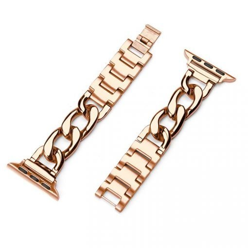 Rose Gold Stainless Steel Compatible With Apple Watch Metal Chain iWatch 38mm 40mm 42mm 44mm Band Strap For iWatch Series 4/3/2/1 - Casememe