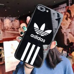 Adidas Originals Tempered Glass Glossy Stripe Designer iPhone Case For iPhone SE 11 Pro Max X XS Max XR 7 8 Plus - Casememe