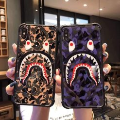 Bape Style Shark Camo Bumper Tempered Glass Designer iPhone Case For iPhone SE 11 Pro Max X XS Max XR 7 8 Plus - Casememe