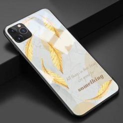 Artsy Autumn Leaves Tempered Glass Shockproof Protective Designer iPhone Case For iPhone 11 Pro Max X XS Max XR 7 8 Plus - Casememe