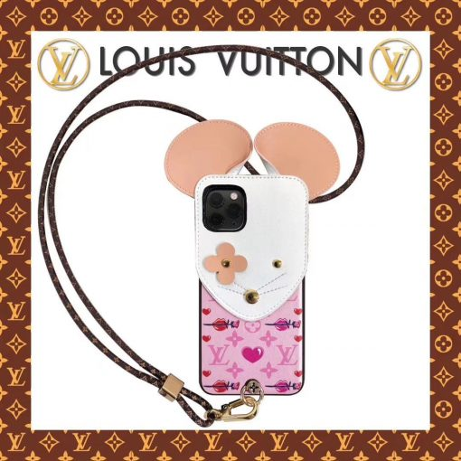 Louis Vuitton Style Mouse Luxury Leather Shockproof Protective Designer iPhone Case For iPhone 12 SE 11 Pro Max X XS Max XR 7 8 Plus - Casememe
