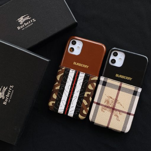Burberry Style Luxury Leather Cardholder Wallet Protective Designer iPhone Case For iPhone SE 11 Pro Max X XS Max XR 7 8 Plus - Casememe