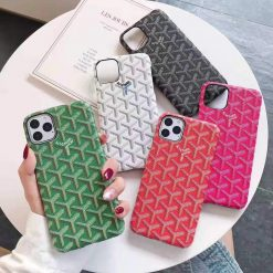 Goyard Style Leather Designer iPhone Case For iPhone 11 Pro Max X XS XS Max XR 7 8 Plus - Casememe