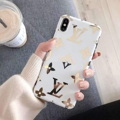 Louis Vuitton Style Monogram Electroplating Glossy TPU Silicone Designer iPhone Case For iPhone 11 Pro Max X XS XS Max XR 7 8 Plus - Casememe