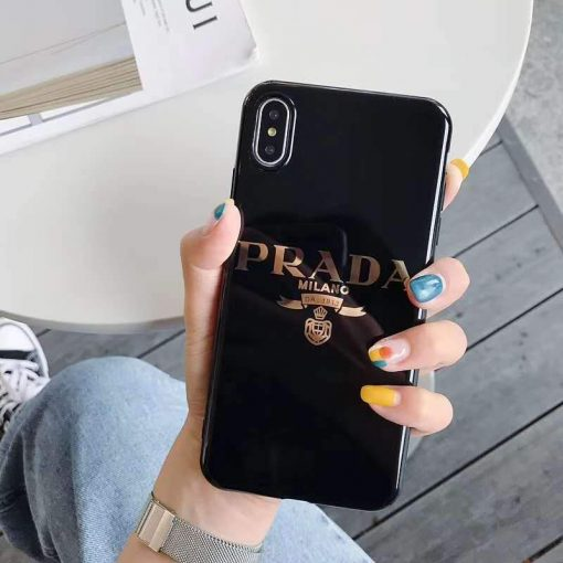 Prada Style Electroplating Glossy TPU Silicone Designer iPhone Case For iPhone 11 Pro Max X XS XS Max XR 7 8 Plus - Casememe