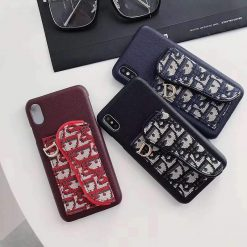 Dior Style Classic Fabric Cardholder Wallet Silicone Designer iPhone Case For iPhone 12 SE 11 PRO MAX X XS XS Max XR 7 8 Plus - Casememe