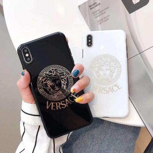 Versace Style Electroplating Glossy TPU Silicone Designer iPhone Case For iPhone 12 SE 11 Pro Max X XS XS Max XR 7 8 Plus - Casememe
